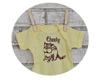 Cheeky Chipmunk baby bodysuit, Cotton Infant Creeper, One Piece Snapsuit, butter yellow, Baby Shower Gift