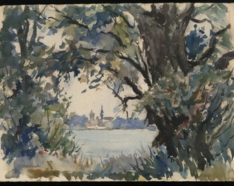 """THADDEUS S. KLODNICKI (Polish/American, 1904-1982), """"Gloucester - A View Through the Trees, I"""", ca. 1950, watercolor on paper, signed"""