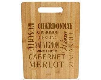 Laser Engraved Cutting Board - 050 - Wine words