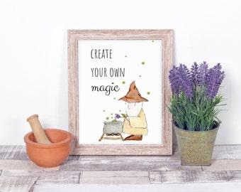 Sage Inspirational Art digital Prints, 'Create Your Own Magic', watercolour illustration, herbalist wizard decor