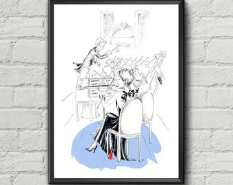 Violin Girl Print Orchestra Print Funny Orchestra Wall Art Violin Art Funny Girl Print Musician Wall Decor Funny Art Gifts for Music Lovers