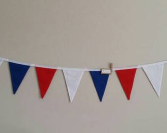 Fabric bunting flags red, blue and white plain