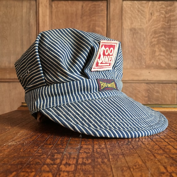 1949 Big Smith Denim Train Conductors Hat, Vintage Conductors Hat With Vintage Soo Line Patch