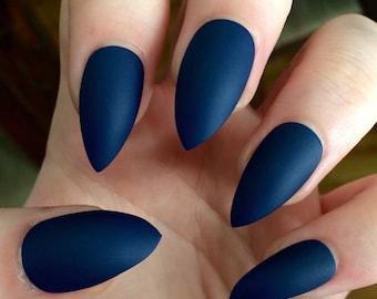 Matte nails, stiletto nails, navy blue, fake nails