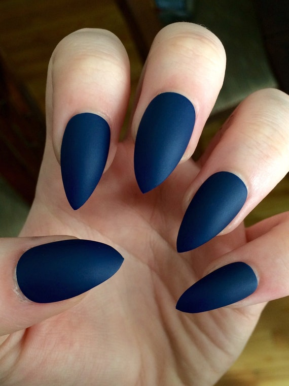 Matte nails stiletto nails navy blue fake nails
