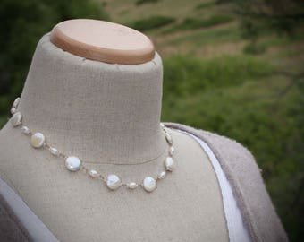 Coin Pearl Necklace, Knotted Pearl Necklace, Silk Cord Necklace, Pearl and Silk Necklace,  Freshwater Pearl Necklace, Coin Pearls