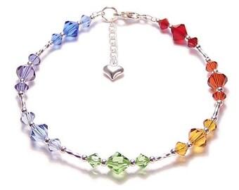 Chakra Armband funkelnden Swarovski Regenbogen Armband Reiki - Amethyst, Saphir