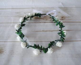 Communion Flower Crown, Flower girl crown,Flower girl headpiece, Wedding Flower Crown, Flower Crown, Flower headpiece,Wedding hair accessory