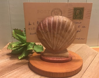Pink Granite Shell Letter Holder Carved