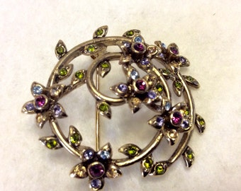 Monet multi colored rhinestones circle flower brooch pin. Free ship to US.