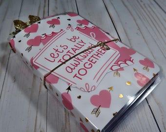 OOAK B6 Travelers Notebook, Valentines, Heart, Pink, White, Journal