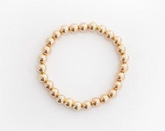 14 Karat Gold Bead Bracelet - 7mm