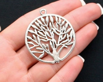 3 Tree of Life Charms Antique  Silver Tone 2 Sided - SC1922