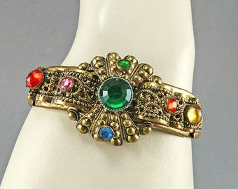 Vintage Bangle With Green Rhinestones Filigree Bracelet With Czech Glass Beads
