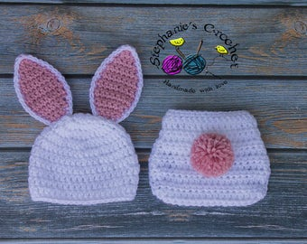 Crochet Newborn baby girl Bunny Hat and Diaper Cover, PHOTO PROP, Bunny hat and diaper cover set-Made to order