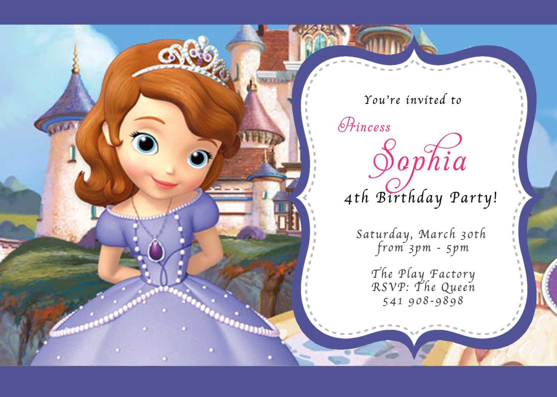 Custom photo invitations disney sofia the first birthday zoom stopboris Images