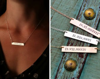 Roman Numeral Bar Necklace • Silver Roman Bar Necklace • Date Bar Rose Gold Roman Wedding Custom Date •Wedding Gift Anniversary Custom