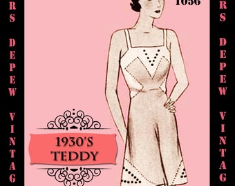 Vintage Sewing Pattern 1930's French Teddy Cami-Knickers in Any Size - PLUS Size Included - Depew 1056 -INSTANT DOWNLOAD-