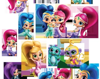 Shimmer and Shine Clipart Images INSTANT DOWNLOAD Cutouts Printable Centerpieces Decorations Zeta Nazbo Nahal Tala Genies Leah Nick jr.