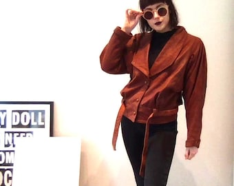 Vintage Retro Medium 80s 1980s Brown Rust Leather Batwing Coat Silk Lined Jacket