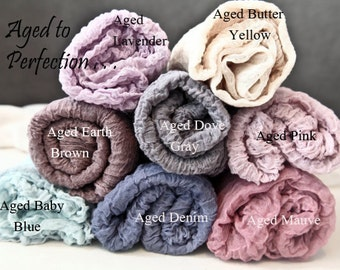 5 feet long swaddle wrap Aged to Perfection Cotton Gauze Swaddle Blanket Newborn Photo Prop Cheesecloth Wraps/Newborn Wrap 5 feet long