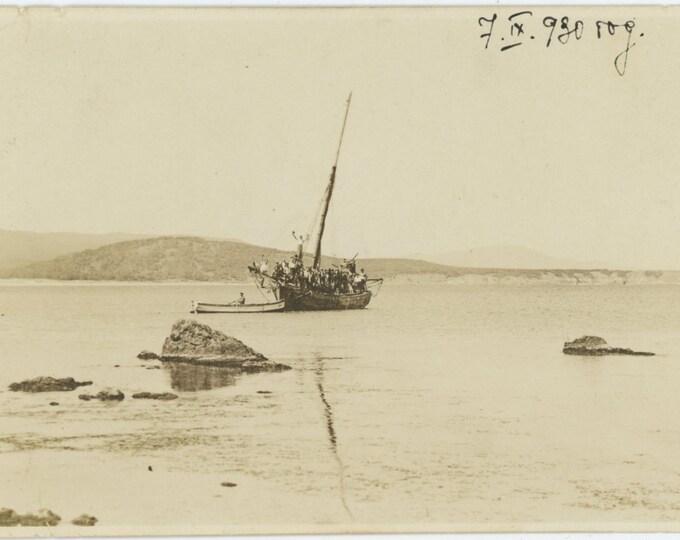 Vintage Snapshot Photo, Bulgaria, 1930: Boatload [84663]