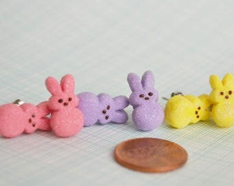 Easter bunny pink yellow purple blue peep polymer clay surgical steel post earrings with butterfly clasp