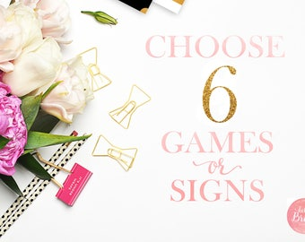 Choose 6 Games or Signs from Hello Bride Paperie