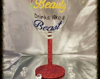 Hand painted Beauty and the beast glass