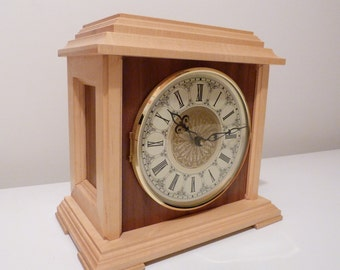 Mantle Clock, Wood Mantle Clock, Handmade Clock, Clock, Mantel Clock, Desk Clock, Table Clock