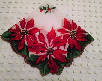 Beautiful Vintage Christmas Hankie Handkerchief Holiday Hanky Red Poinsettias Green Leaves Holly Berries Center Retro 1950's 1960's Xmas