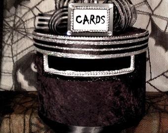 Black wedding card box,black wedding dress,goth wedding card box,halloween wedding,halloween decoration,card box,steampunk wedding card,syfy