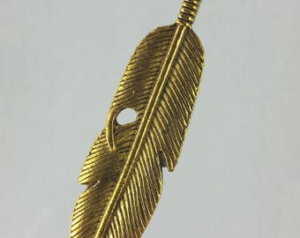 Gold pewter feather double sided pendant