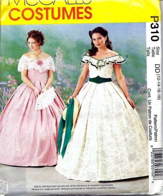 McCall\'s P310/3597 Costume Civil War Southern Belle Dress Pattern ...