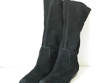 Black Leather boots - Black suede boots 8M - Dressy black suede boots - Women's sz 8 boots - Nine West suede boots