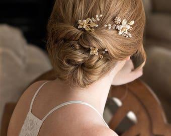 Bridal Headpiece, Bridal Hair pins, Bridal Hair Jewelry, Wedding Headpiece, Bridal accessories, Bridal Comb, Wedding Accessory   AMBER Gold