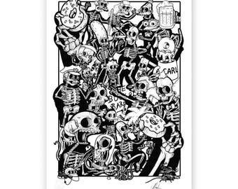 The Bare Bones Springfield Collage Print (A3)