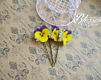 Handmade hair pin, Polymer clay pansy, Fimo pansies, Handmade clay flowers, Yellow Pansy, Polymer clay hair pin