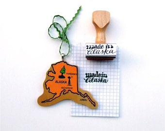 Made in Alaska Stamp, Hand Lettered Calligraphy Stamp, Paper Crafting Rubber Stamp, Shop Packaging, Scrapbooking Stamp