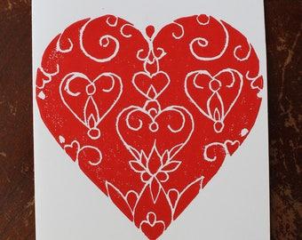 Hand-printed Heart Linocut Cards