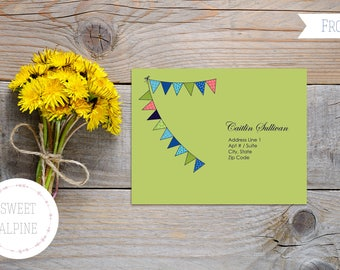 Love Birds Wedding Reply Postcard, Bunting Flags Wedding, Wedding RSVP Digital File PDF Delivery