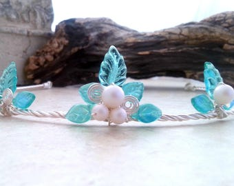 Fantasy Wedding Flower Girl Crown Tiara - Fairy Leaf Headpiece Circlet - Aqua Blue Bohemian Wedding Circlet - Boho Leaf Circlet