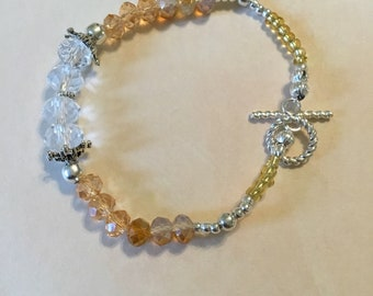 Amber and crystal glass  bead bracelet