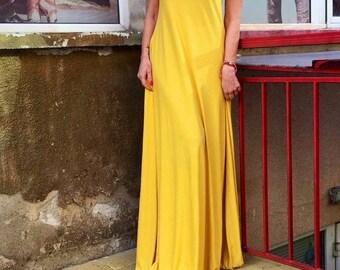 dress/yellow dress/long dress/cotton dress
