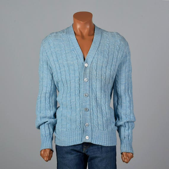 Cable Knit Vintage Large Sweater Knit Cardigan V 1960s Menswear Neck Front Long 60s Separates Button Mens Blue Jantzen Sleeves Baby wXrC7XqxH