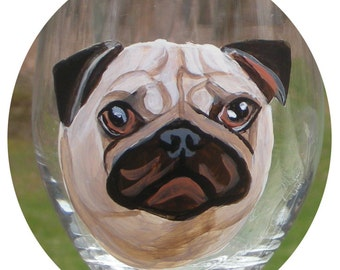 Benutzerdefinierte Hund bemalt Glas Wein ~ Geburtstagsgeschenk ~ Geschenke unter 50 ~ Mann Geschenk ~ Hund Glas Wein