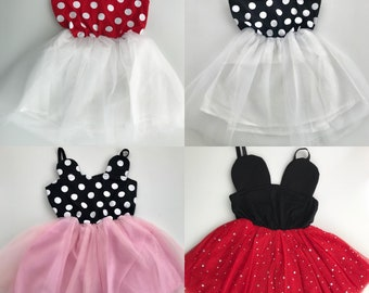 RED, PINK, or WHITE Minnie Mouse dress polk-a dot tulle dress baby girl toddler girl cute birthday dress, party dress, cake smash ou