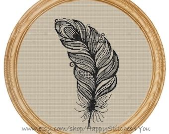 Cross Stitch Pattern PDF feather silhouette DD0124