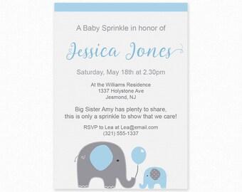 Blue Elephant Baby Sprinkle Invitations - Blue Baby Sprinkle, Printable Invitation, Blue Elephant Baby Sprinkle Invites, Elephant Invitation