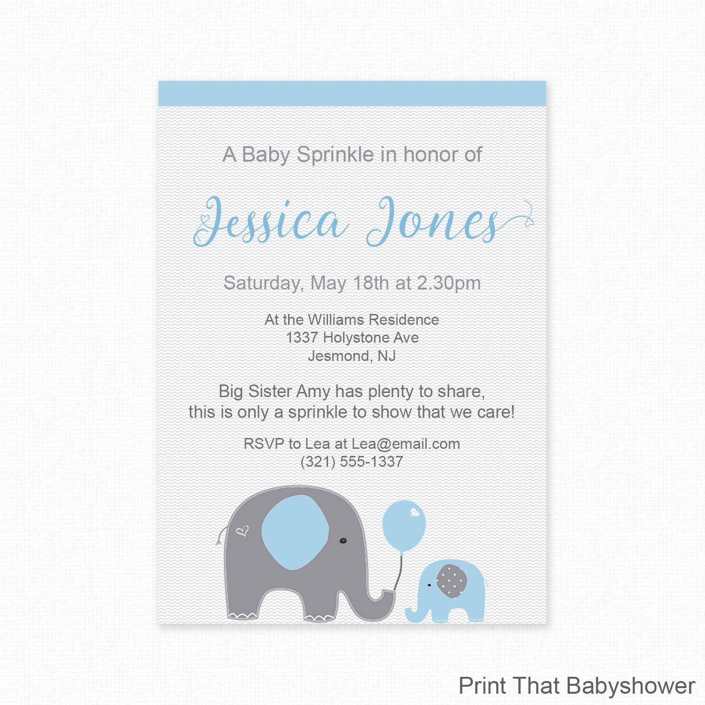 Blue Elephant Baby Sprinkle Invitations Blue Baby Sprinkle